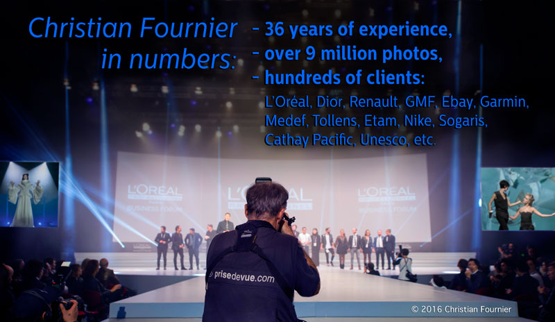 Christian Fournier in numbers, that s  36 years of experience, over 9  million photos, clients  L Oréal, Dior, Renault, GMF, Ebay, Garmin, Medef,  Tollens, ... 57a4b965d490